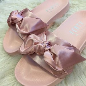 db2218755451 Puma Shoes - Fenty Puma Rihanna bow satin pink bandana slide
